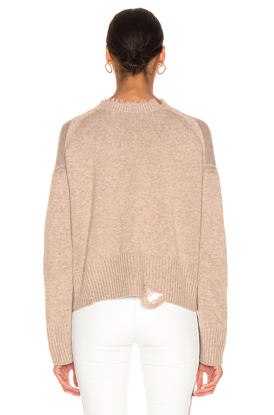 Image 3 of Helmut Lang Distressed Crew Sweater in Beige