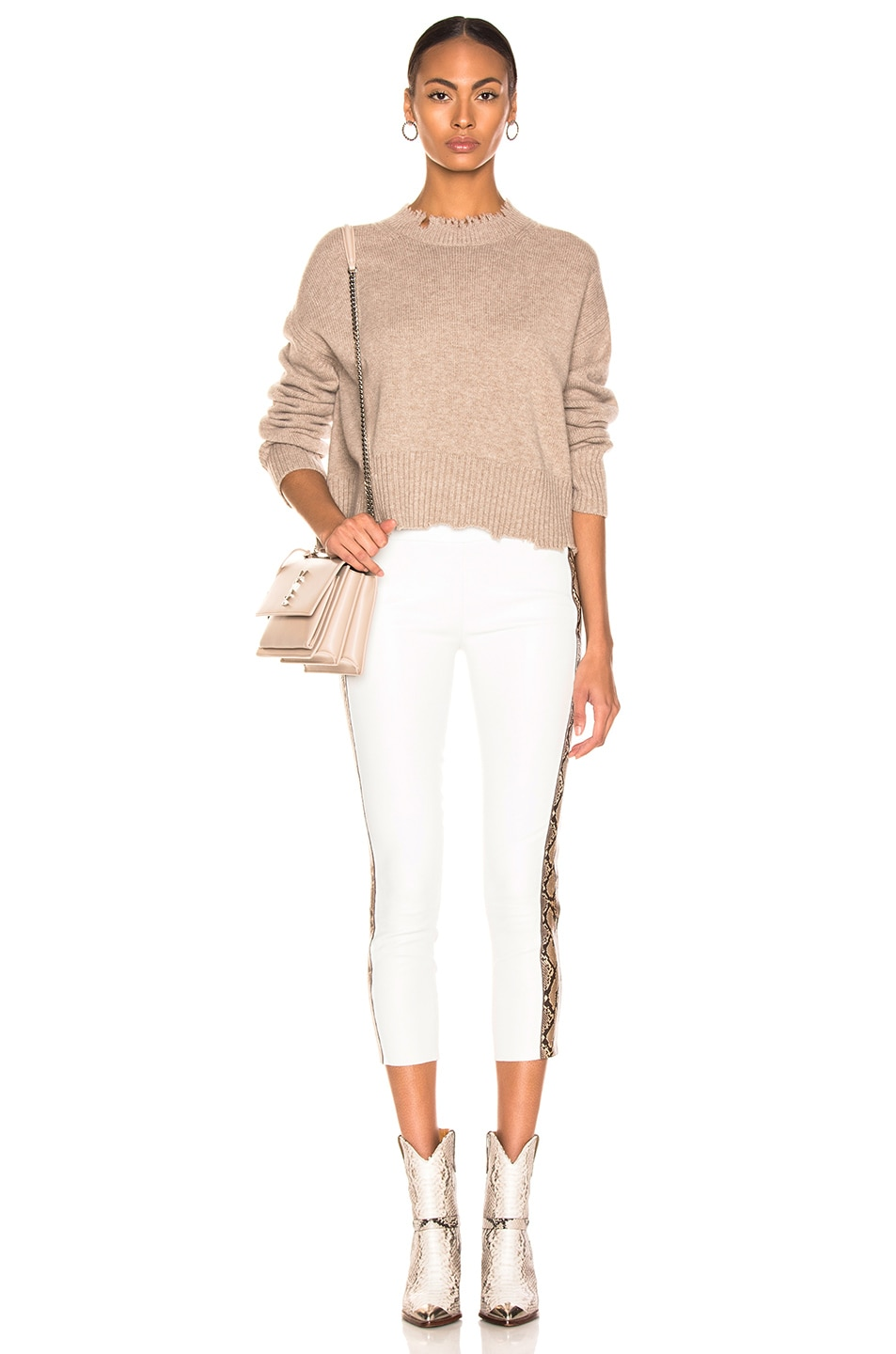 Image 4 of Helmut Lang Distressed Crew Sweater in Beige