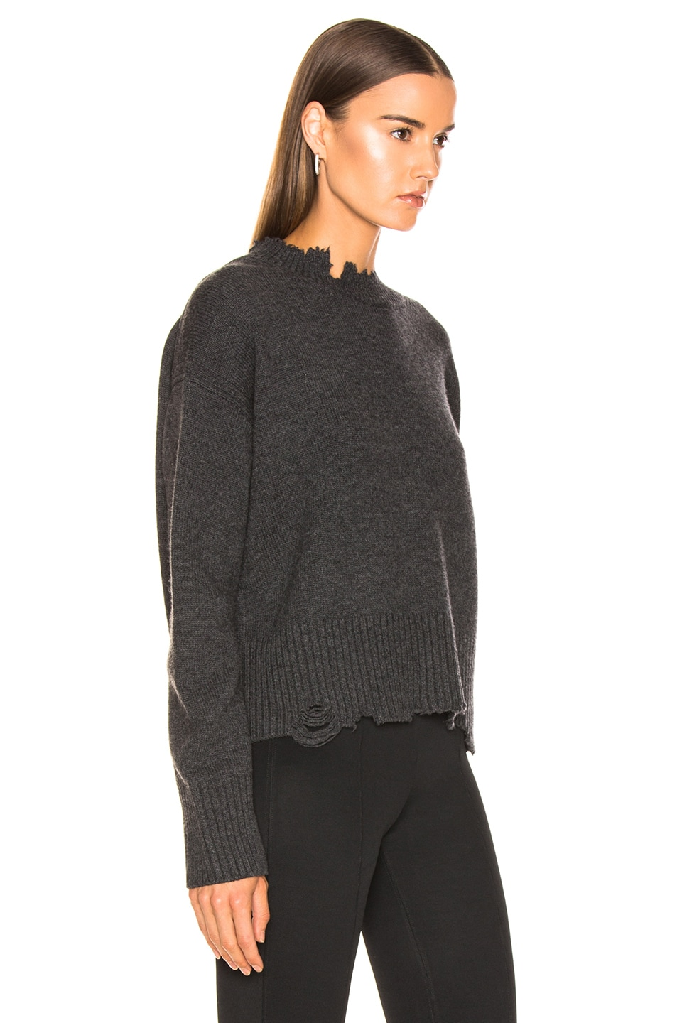Image 2 of Helmut Lang Distressed Crew Sweater in Elephant