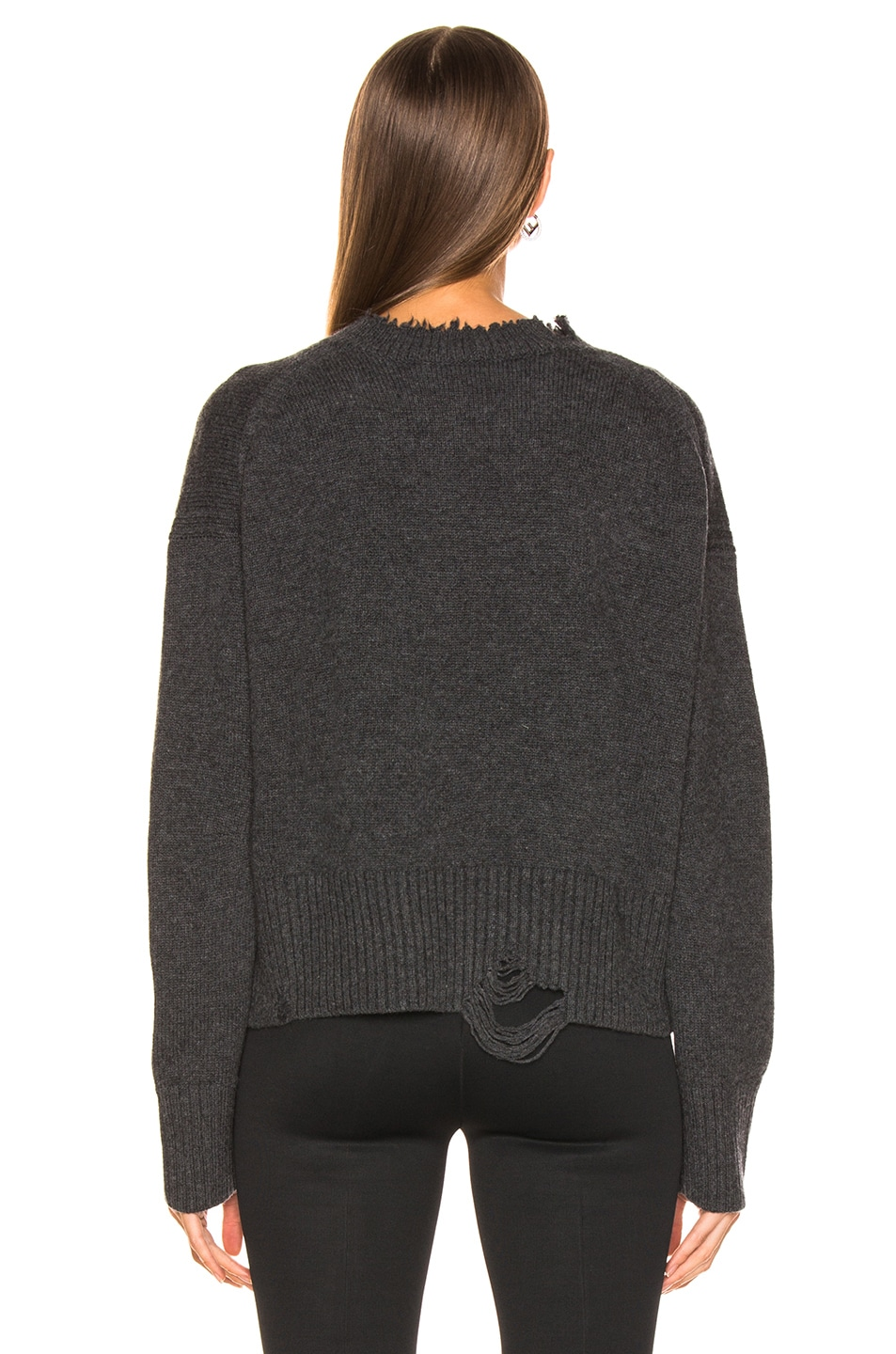Image 3 of Helmut Lang Distressed Crew Sweater in Elephant