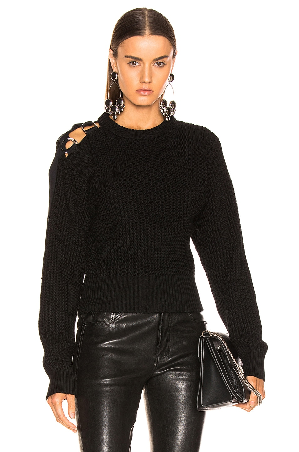Image 1 of Helmut Lang Shoulder Strap Crewneck in Black