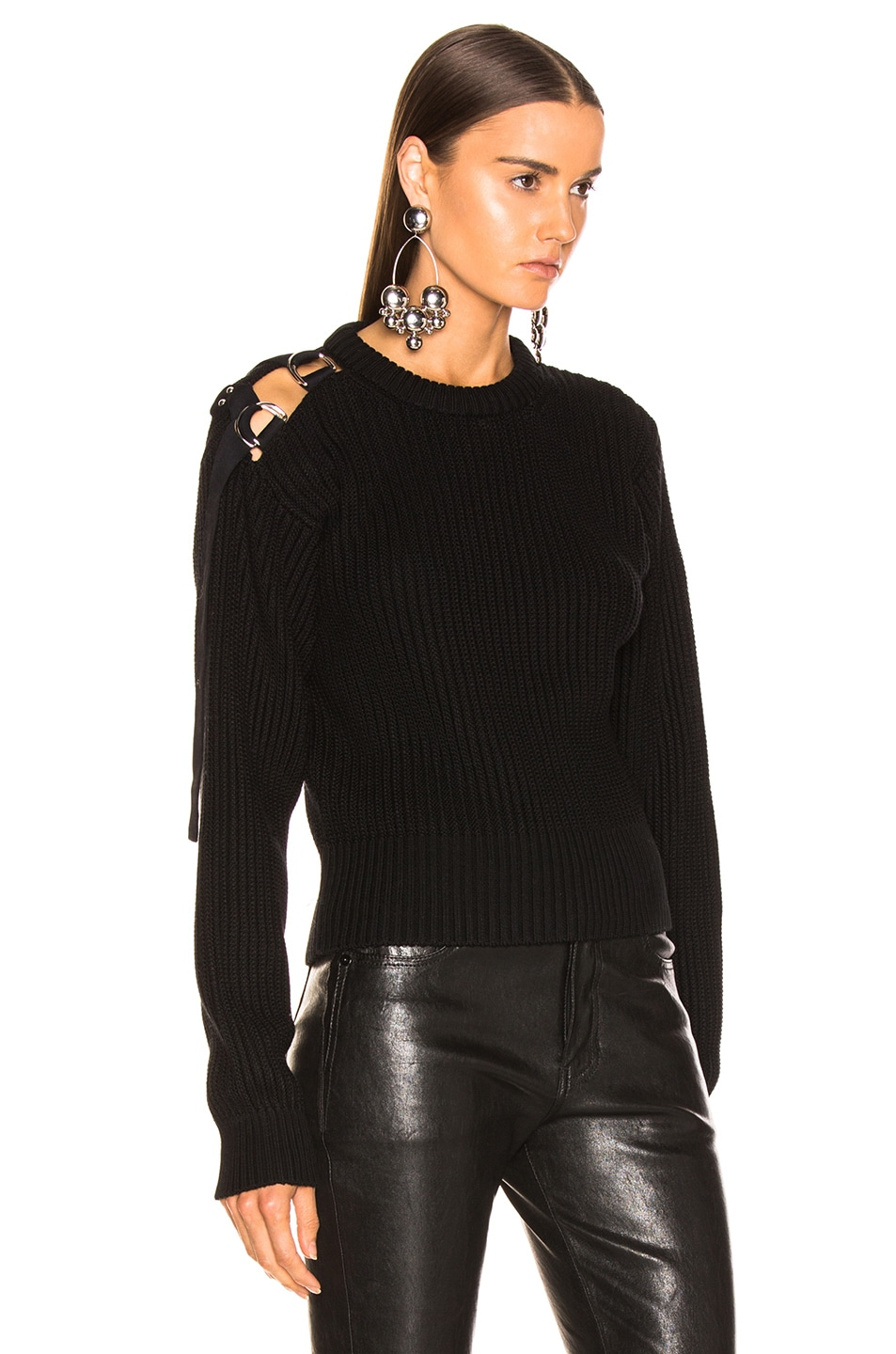 Image 2 of Helmut Lang Shoulder Strap Crewneck in Black