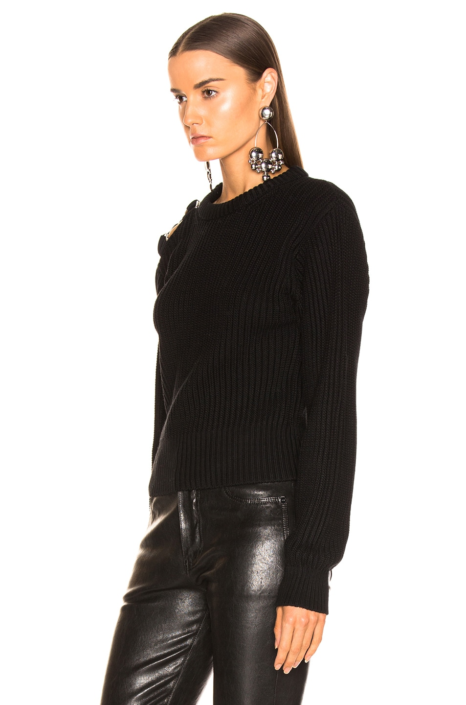 Image 3 of Helmut Lang Shoulder Strap Crewneck in Black