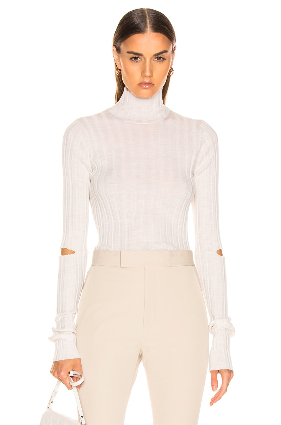 Image 1 of Helmut Lang Slash Rib Turtleneck in Ivory Melange