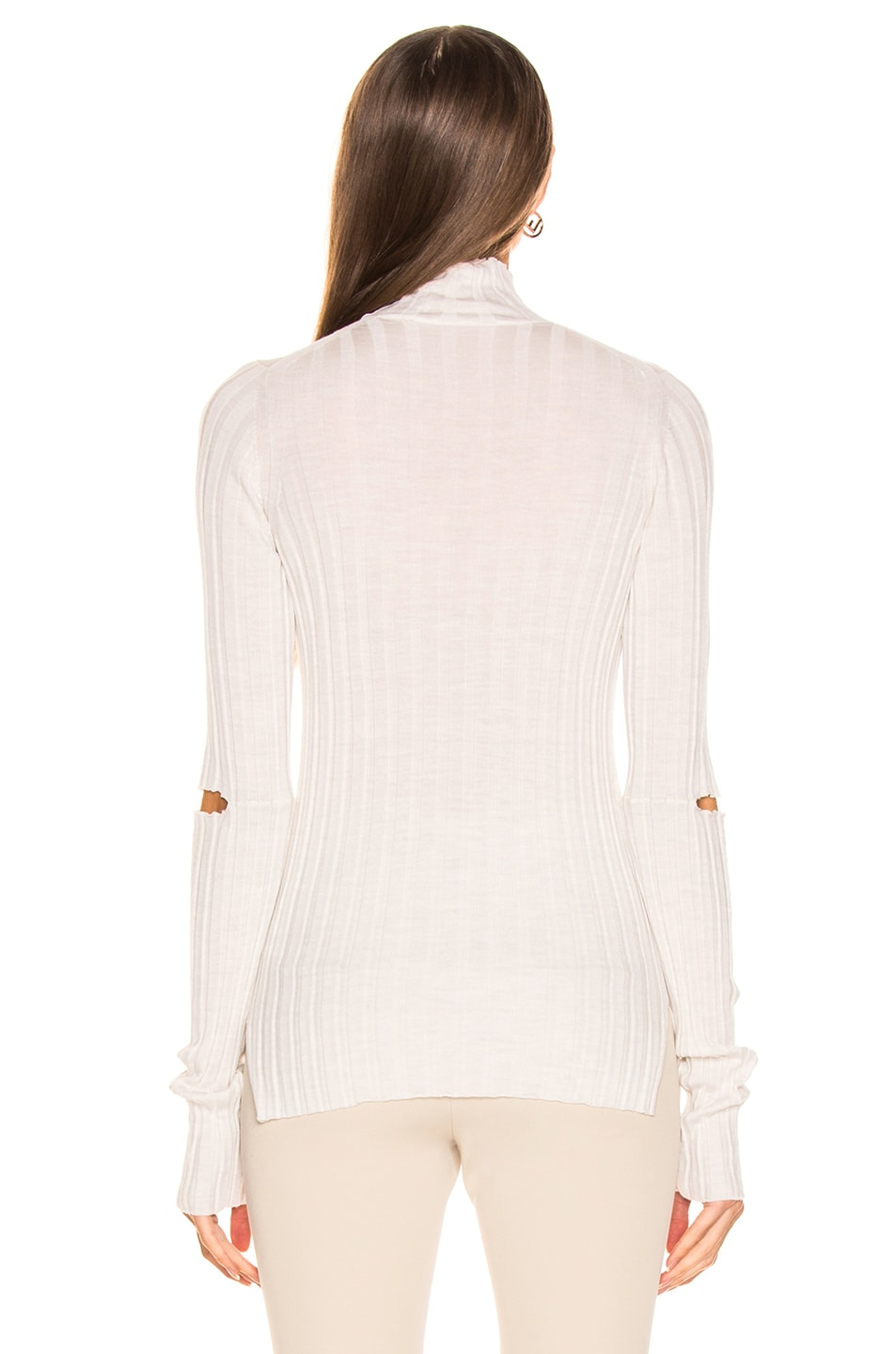 Image 3 of Helmut Lang Slash Rib Turtleneck in Ivory Melange