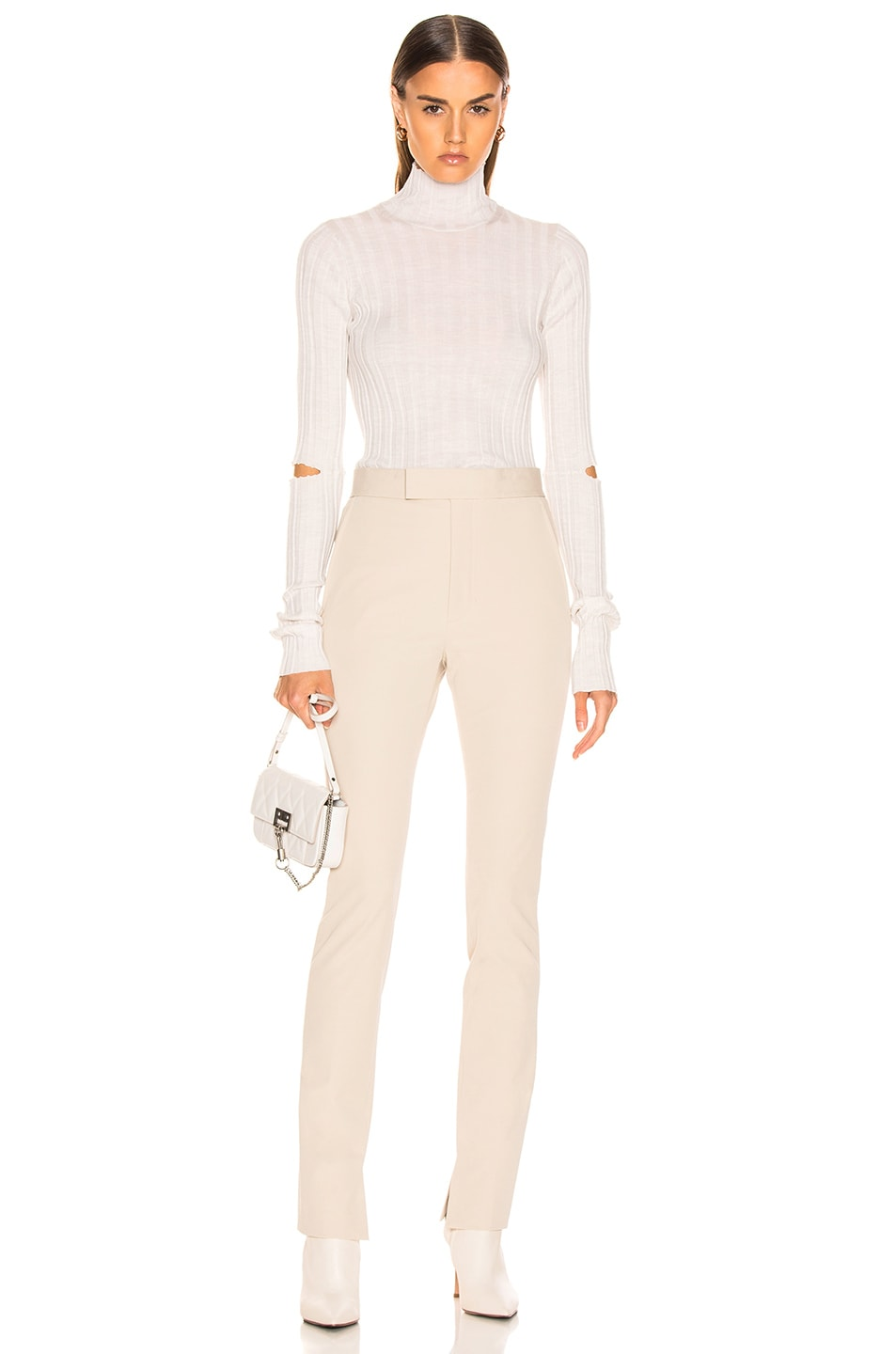 Image 4 of Helmut Lang Slash Rib Turtleneck in Ivory Melange