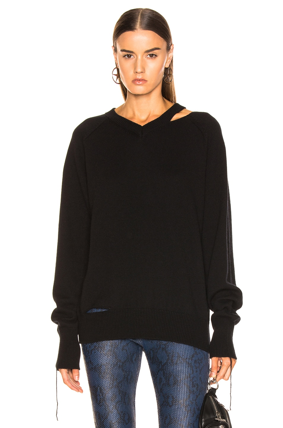 Image 1 of Helmut Lang Slash V Neck in Black