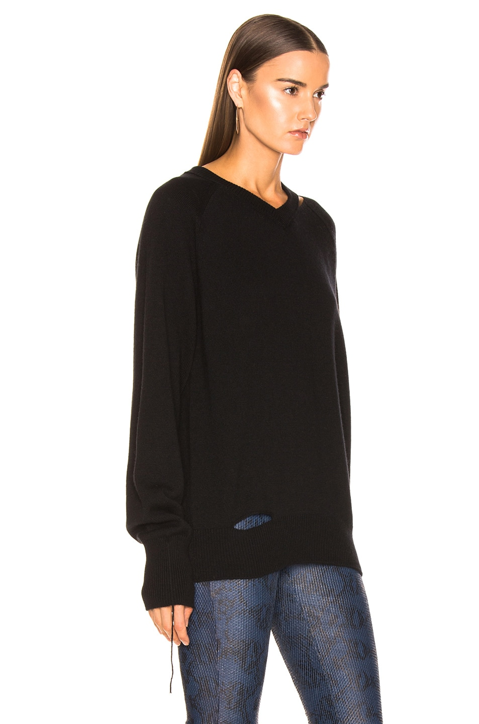 Image 2 of Helmut Lang Slash V Neck in Black