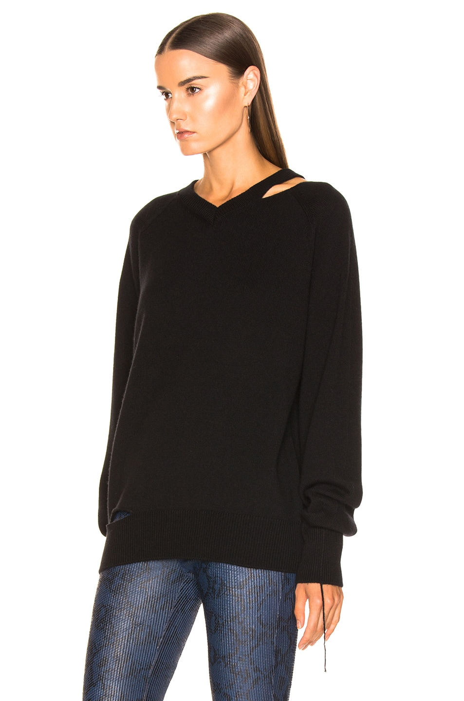 Image 3 of Helmut Lang Slash V Neck in Black