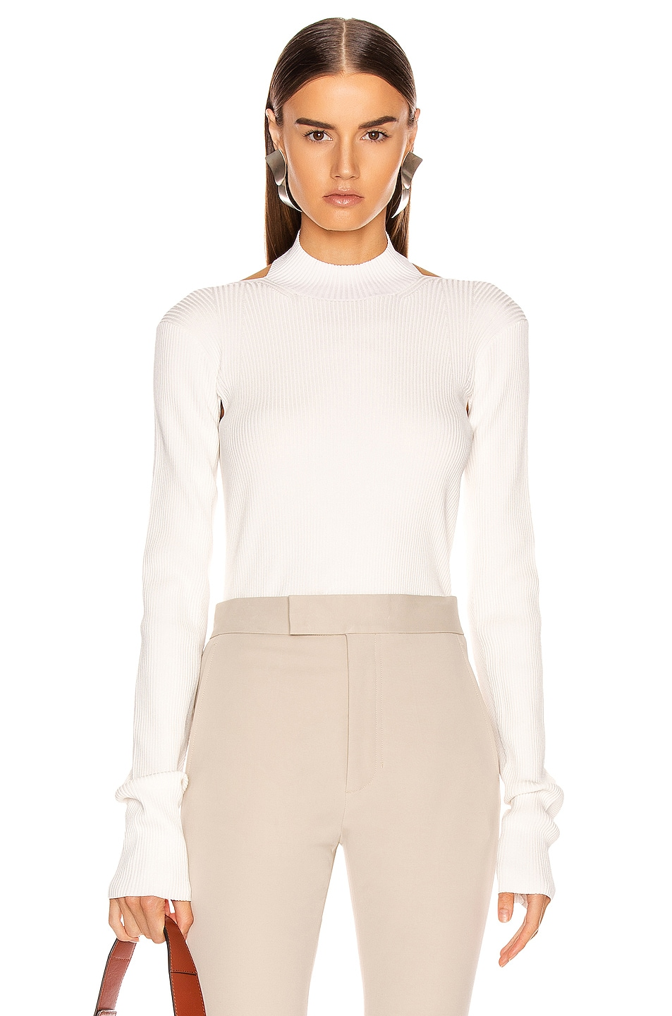 Image 1 of Helmut Lang Stretch Open Back Sweater in Ecru