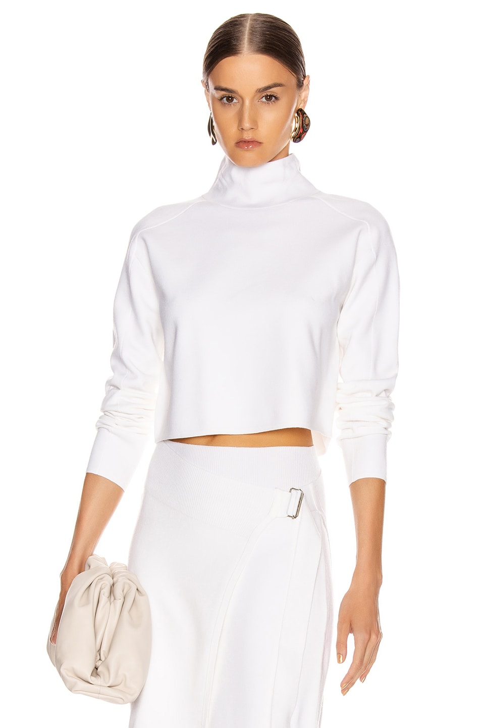 Image 1 of Helmut Lang Compact Wool Turtleneck Sweater in Porcelain