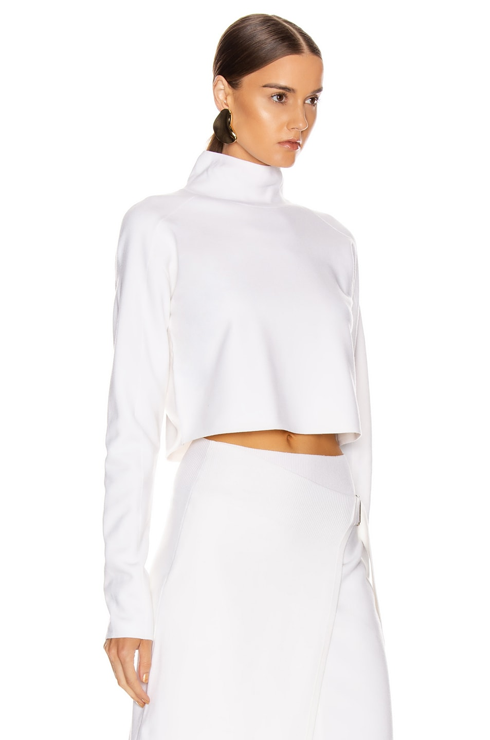 Image 2 of Helmut Lang Compact Wool Turtleneck Sweater in Porcelain