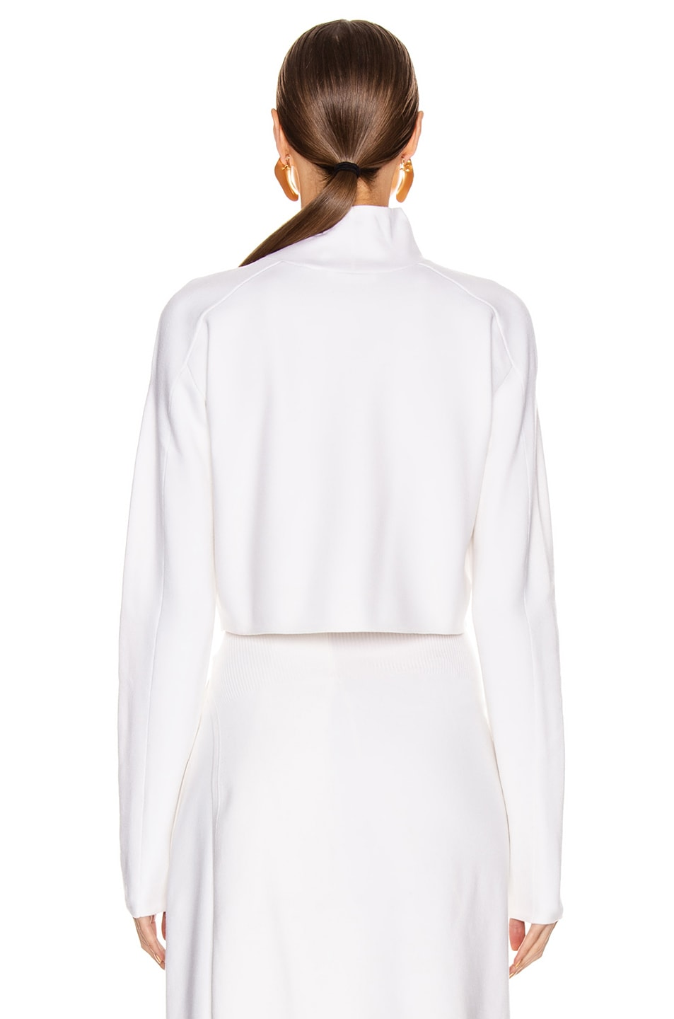 Image 3 of Helmut Lang Compact Wool Turtleneck Sweater in Porcelain