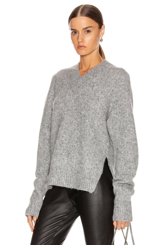 Image 1 of Helmut Lang Brushed V Neck Tie Sleeve Sweater in Ash