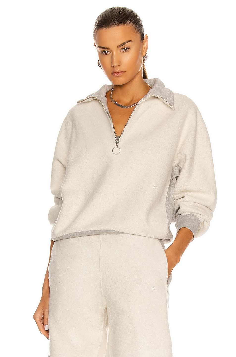 Image 1 of Helmut Lang Inside Out Collared Sweater in Vapor Heather
