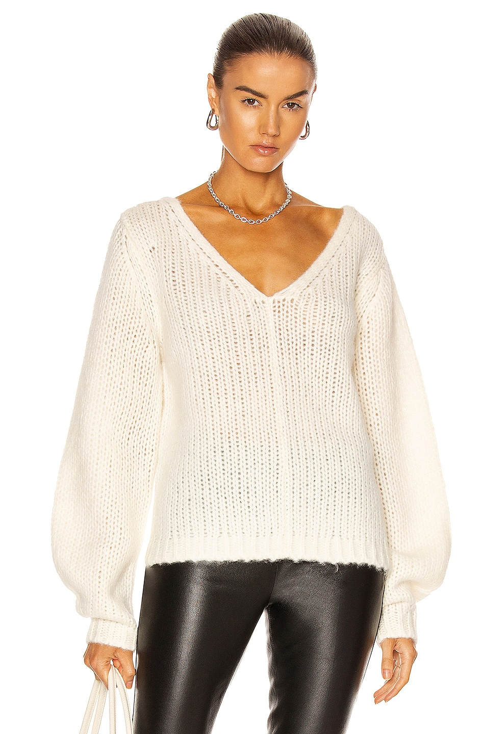 Image 1 of Helmut Lang Wide Double V Neck Sweater in ivory