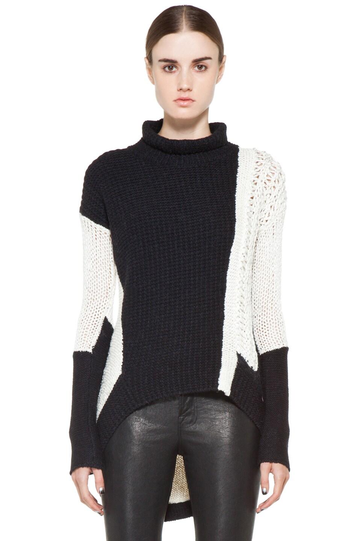 Image 1 of Helmut Lang Turtleneck Sweater in White & Black