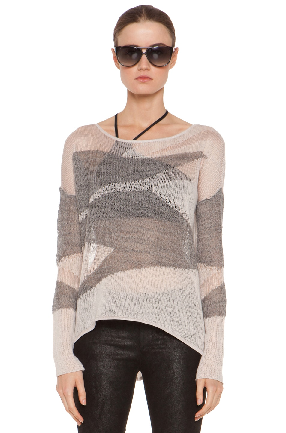 Image 1 of Helmut Lang Merging Texture Boxy Pullover Sweater in Nude