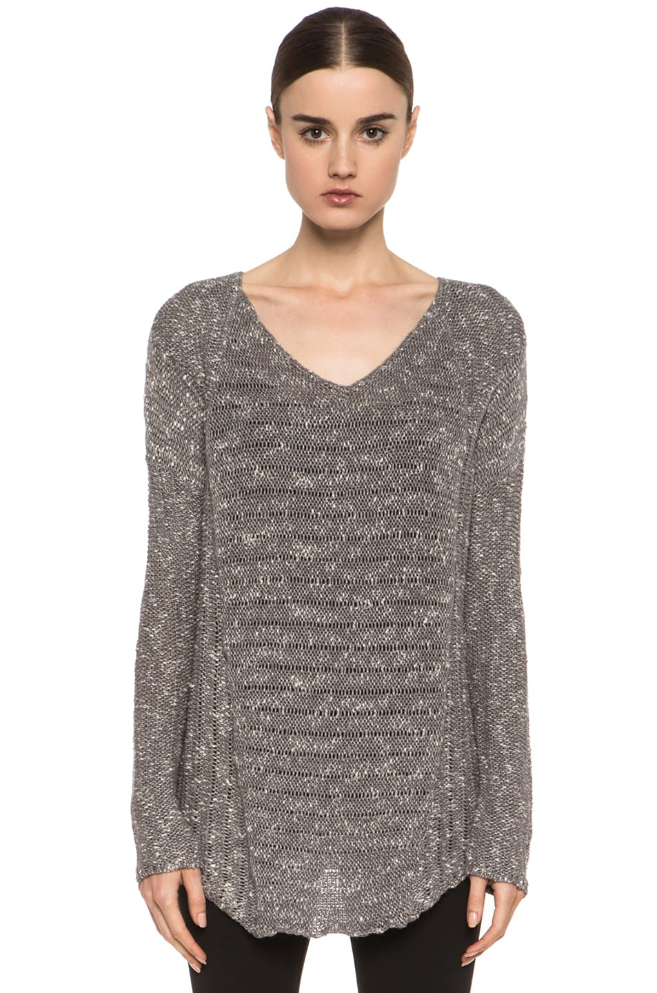 Image 1 of HELMUT Helmut Lang Caged Boucle Curved Hem Pullover in Silica