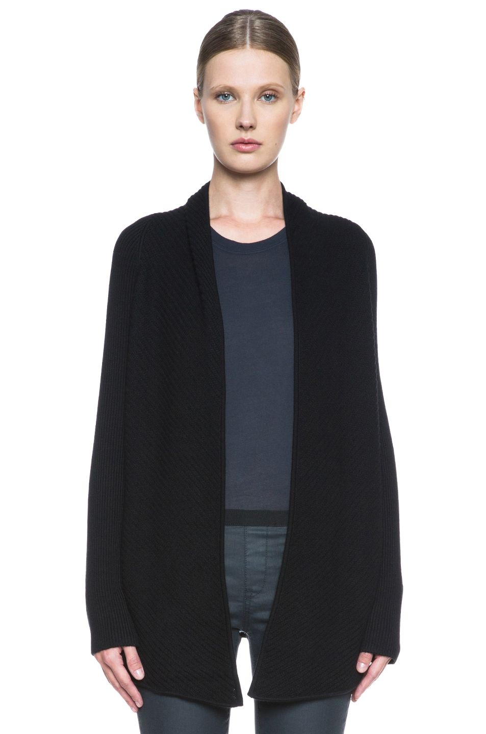 Image 1 of HELMUT Plush Wool-Blend Cardigan in Black