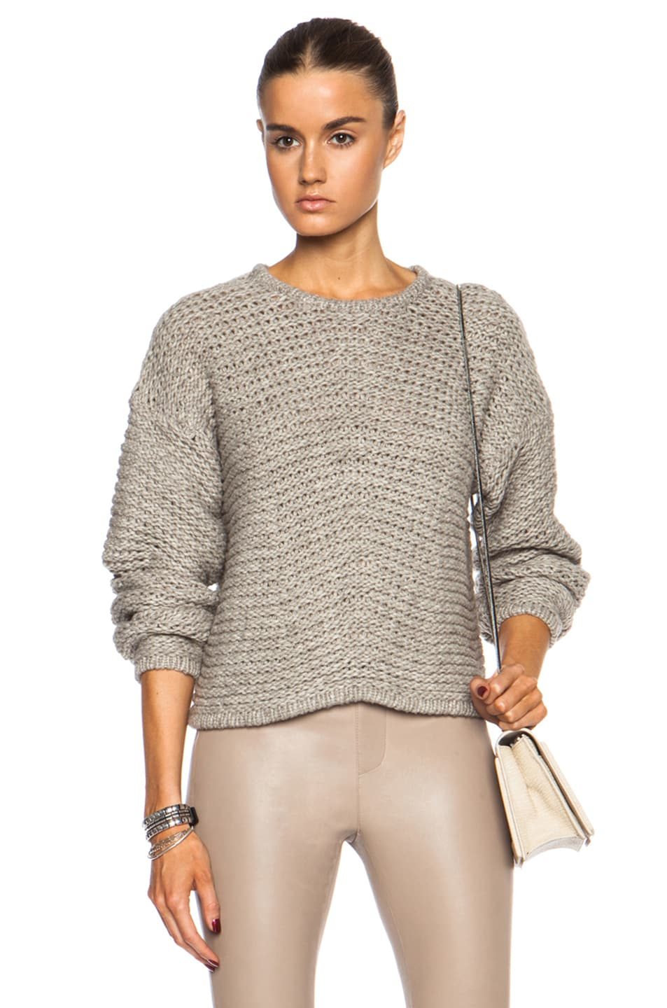 0fd2d6d4 Image 1 of Helmut Lang Soft Grid Cropped Wool-Blend Sweater in Dust