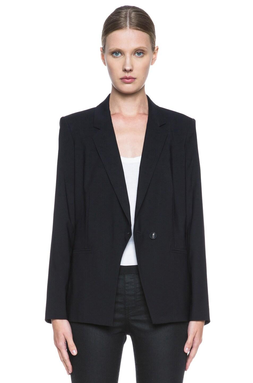 Image 1 of Helmut Lang Stretchy Wool Front Overlap Viscose Blazer in Black
