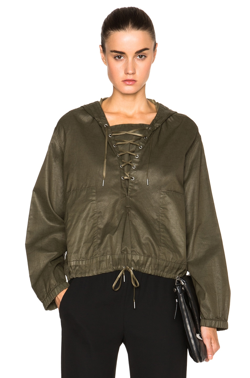 Image 1 of Helmut Lang Distressed Resin Hooded Pullover in Camo