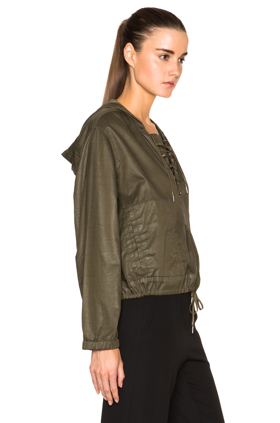 Image 3 of Helmut Lang Distressed Resin Hooded Pullover in Camo