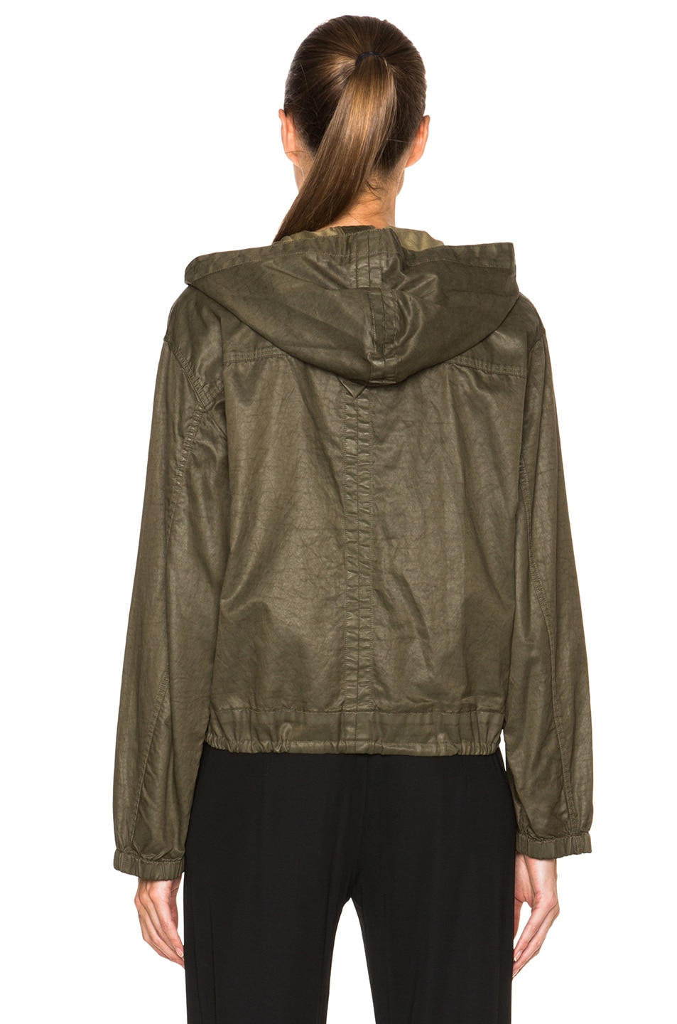 Image 4 of Helmut Lang Distressed Resin Hooded Pullover in Camo