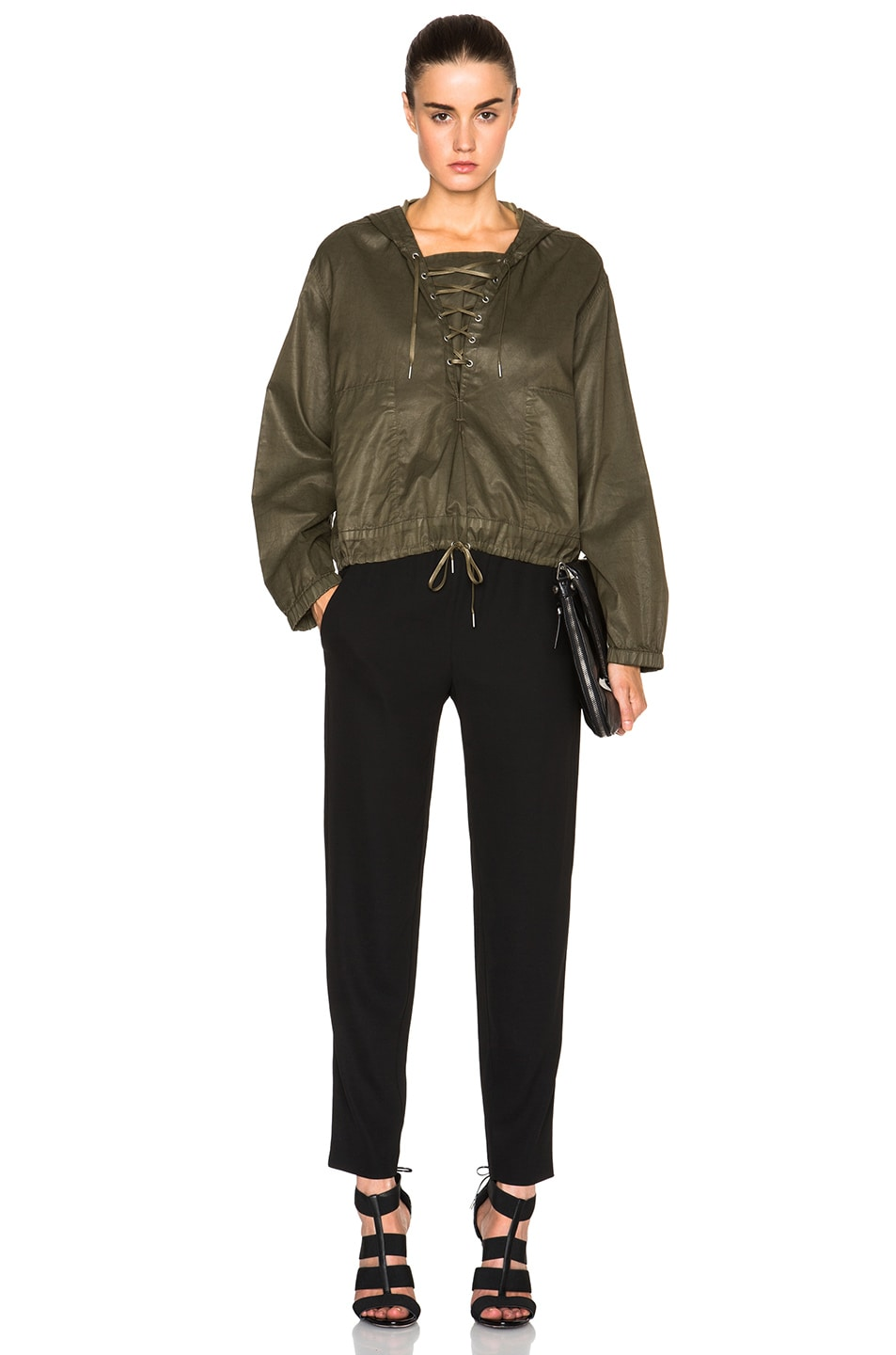 Image 5 of Helmut Lang Distressed Resin Hooded Pullover in Camo