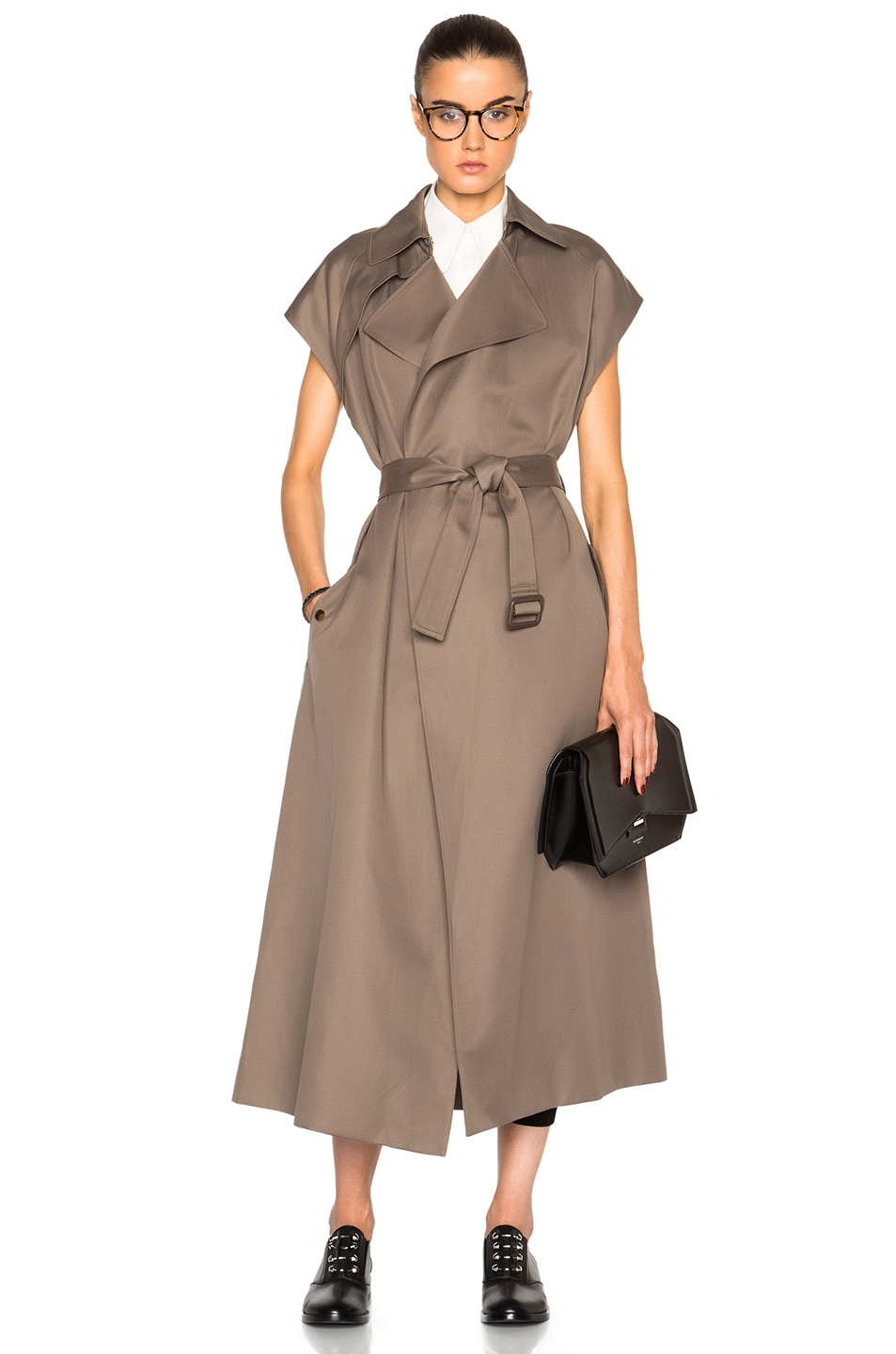 Image 1 of Helmut Lang Trench Vest Coat in Army Green