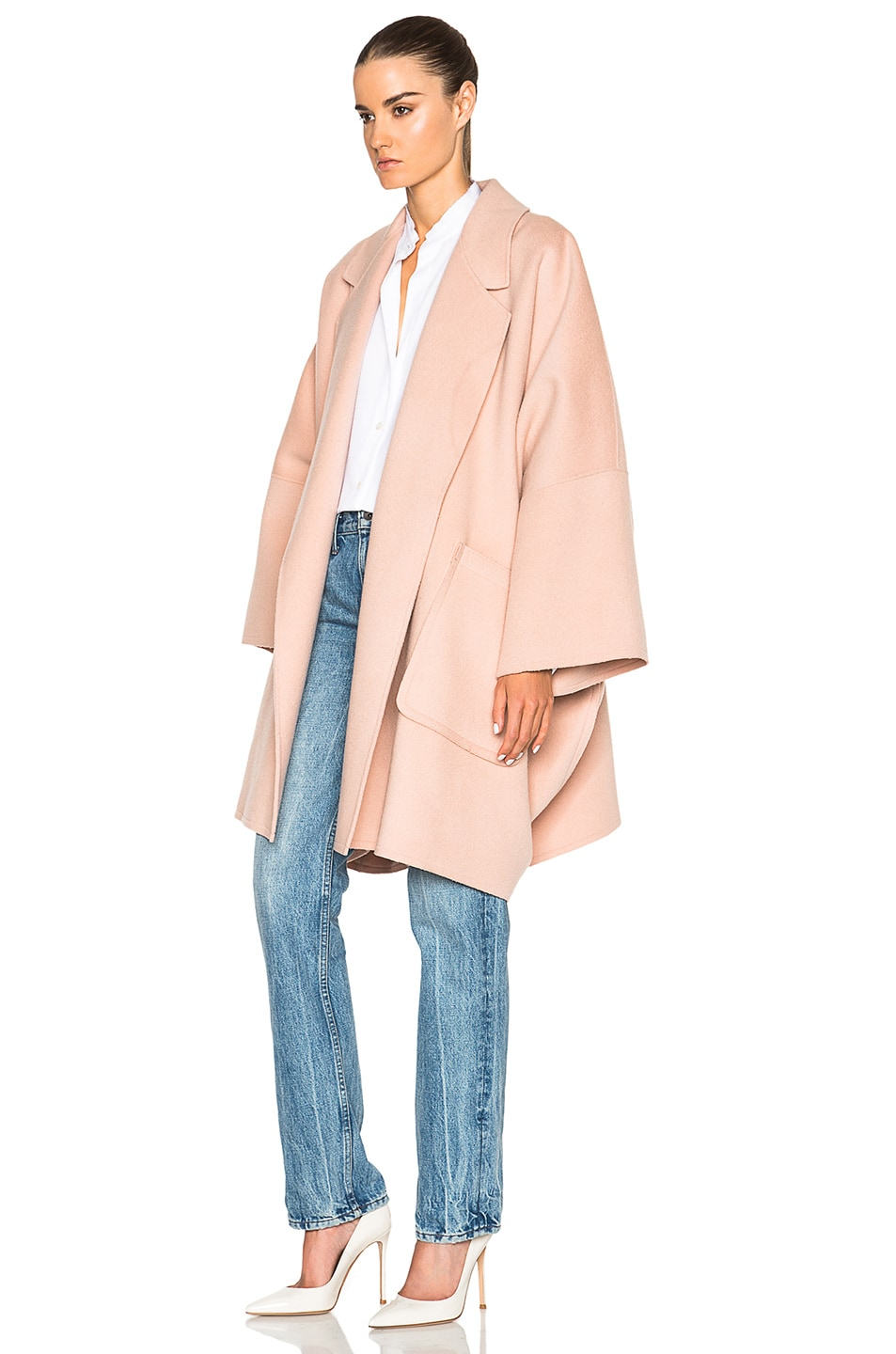 Image 2 of Helmut Lang Double Face Wool Coat in Dusty Pink
