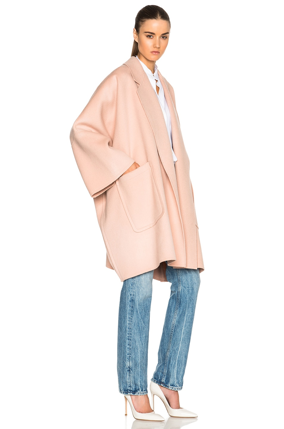 Image 3 of Helmut Lang Double Face Wool Coat in Dusty Pink