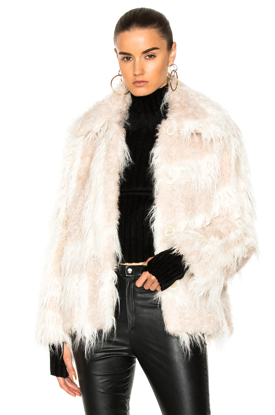 Image 1 of Helmut Lang Shawl Collar Faux Fur Jacket in Chalk & Cream