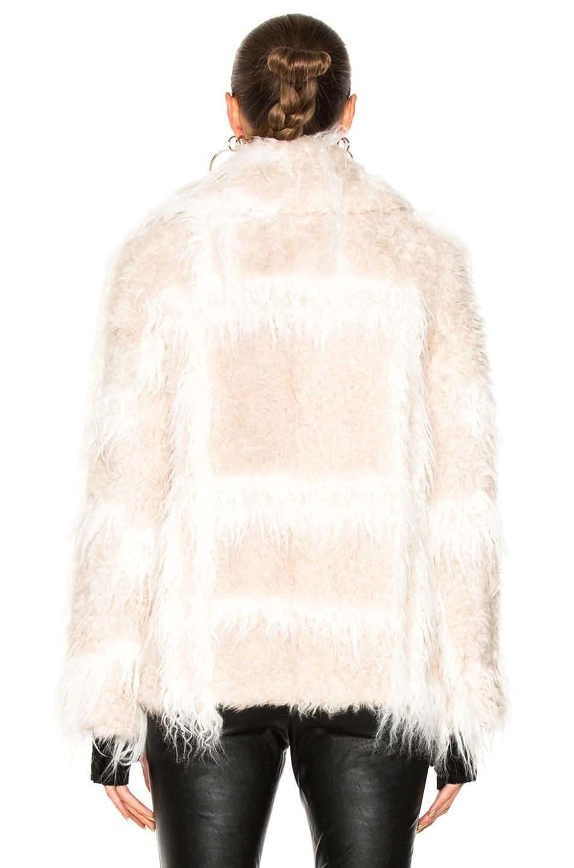 Image 4 of Helmut Lang Shawl Collar Faux Fur Jacket in Chalk & Cream
