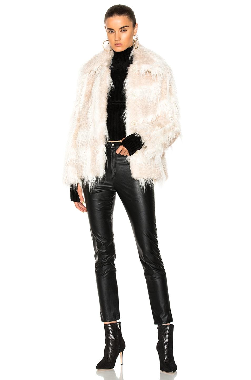 Image 5 of Helmut Lang Shawl Collar Faux Fur Jacket in Chalk & Cream