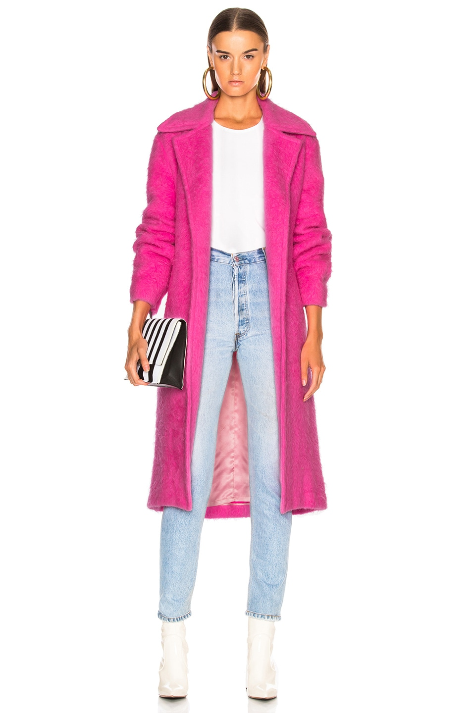 Image 1 of Helmut Lang Nappy Wool Coat in Disco Pink