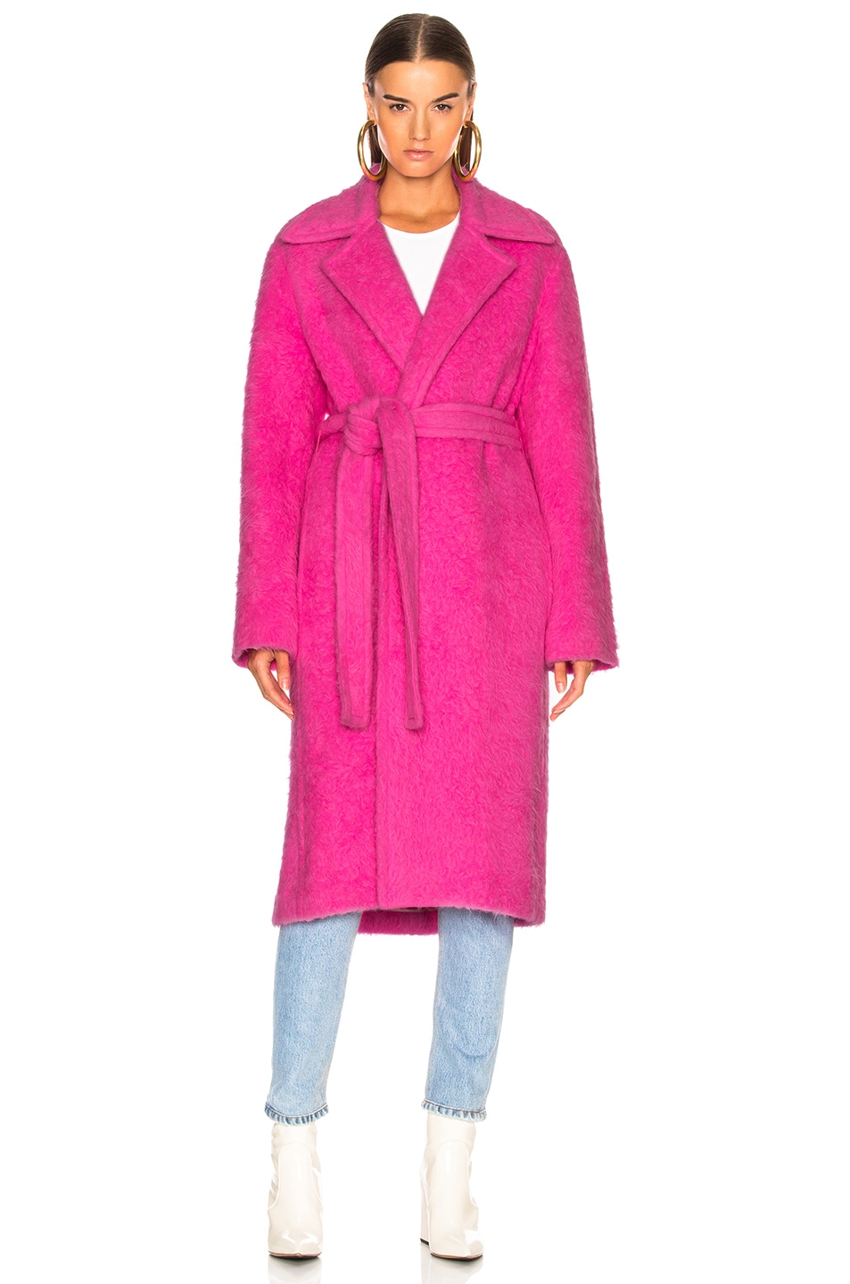 Image 2 of Helmut Lang Nappy Wool Coat in Disco Pink