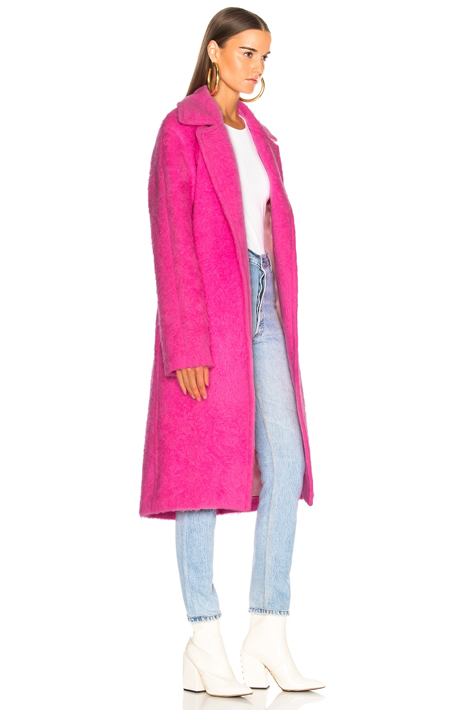 Image 3 of Helmut Lang Nappy Wool Coat in Disco Pink