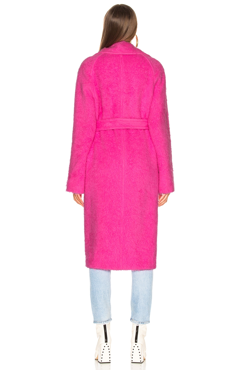 Image 4 of Helmut Lang Nappy Wool Coat in Disco Pink