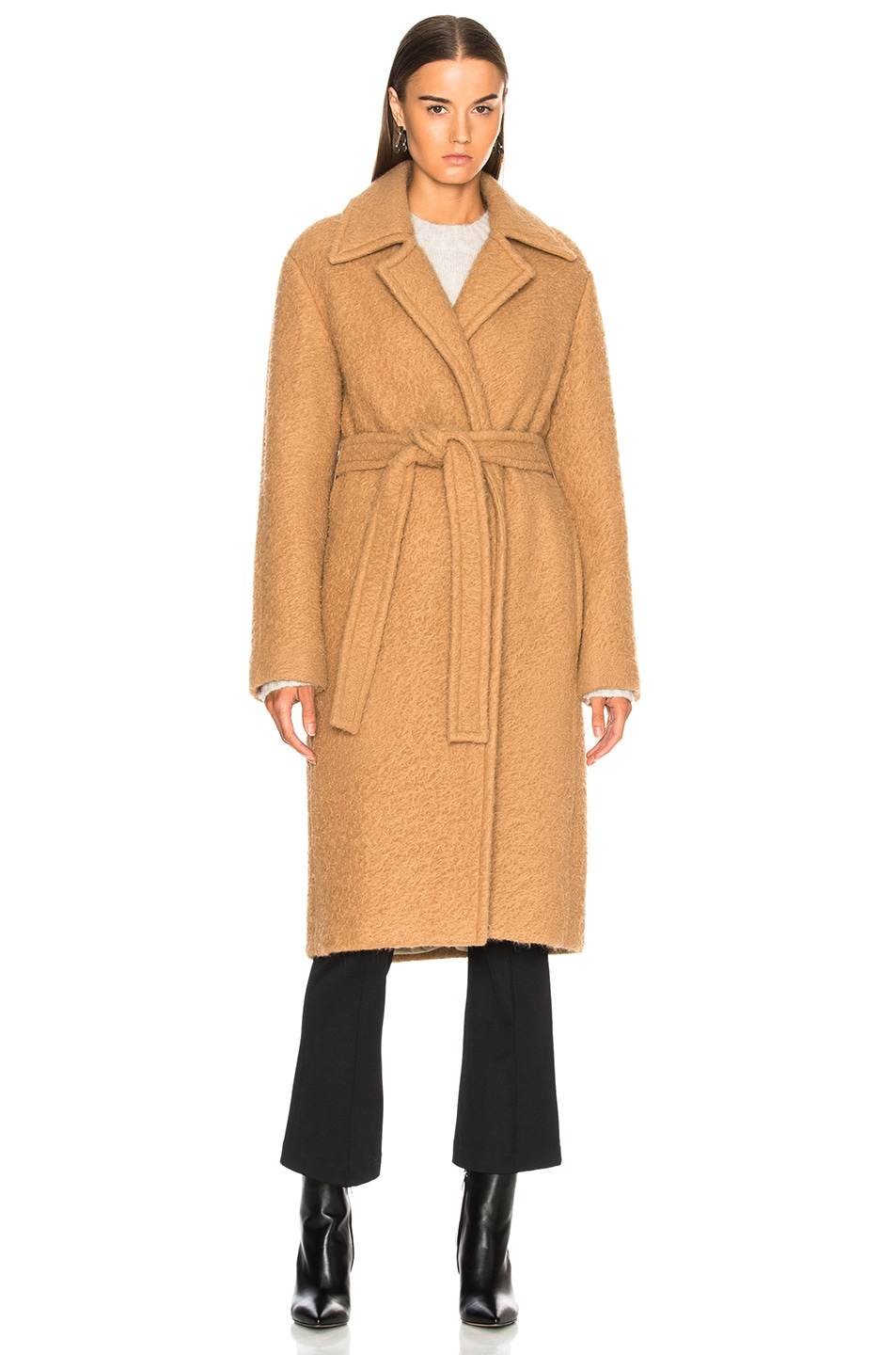 Image 2 of Helmut Lang Nappy Wool Coat in Camel