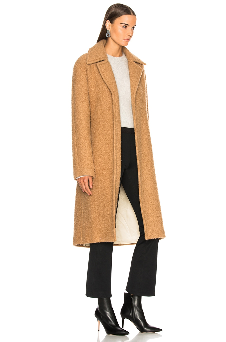 Image 3 of Helmut Lang Nappy Wool Coat in Camel