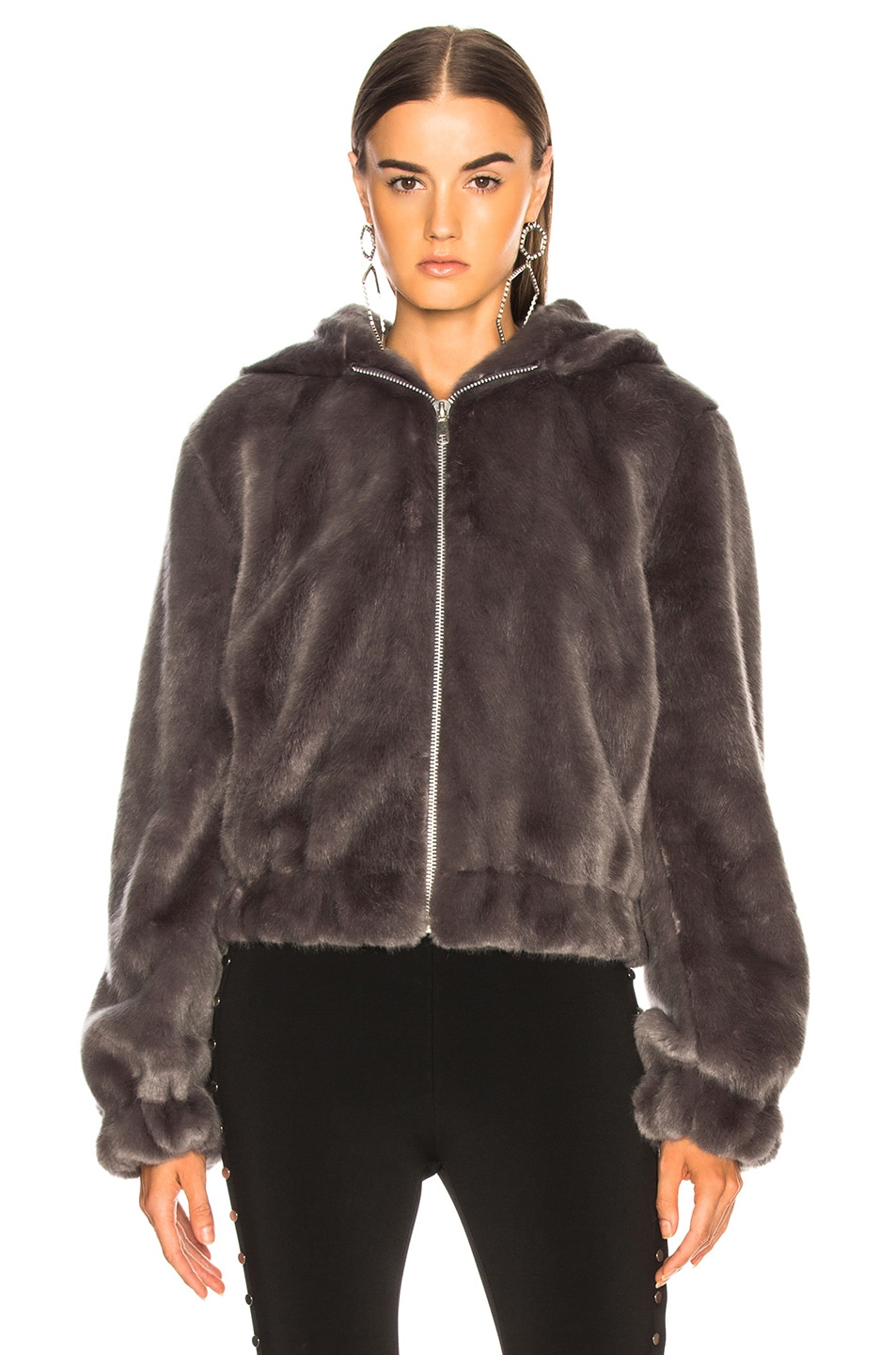 412b9e36a Helmut Lang Hooded Faux Mink Bomber Jacket in Seal | FWRD