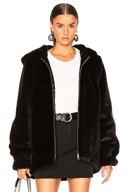 Image 1 of Helmut Lang Oversized Faux Mink Fur Bomber Jacket in Black