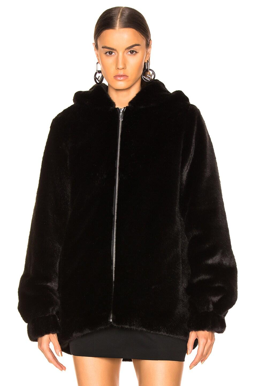 Image 2 of Helmut Lang Oversized Faux Mink Fur Bomber Jacket in Black