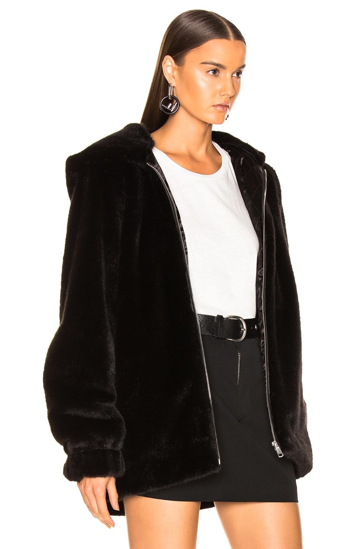 Image 3 of Helmut Lang Oversized Faux Mink Fur Bomber Jacket in Black