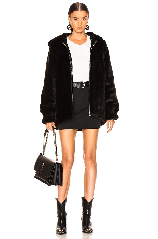 Image 5 of Helmut Lang Oversized Faux Mink Fur Bomber Jacket in Black
