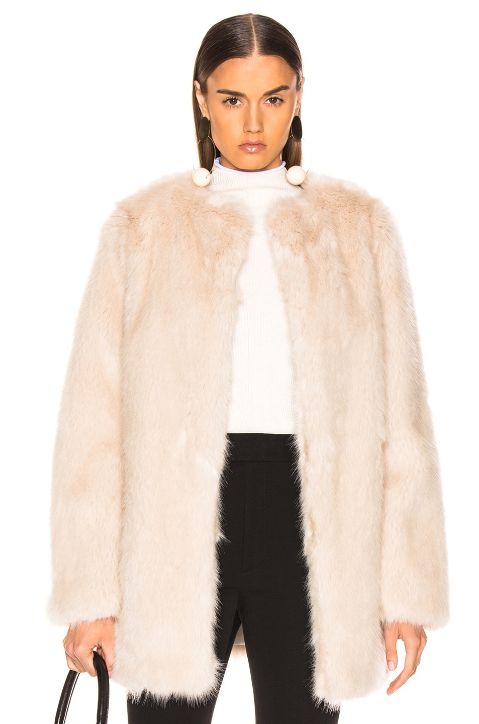Image 1 of Helmut Lang Faux Fur Coat in Oatmeal