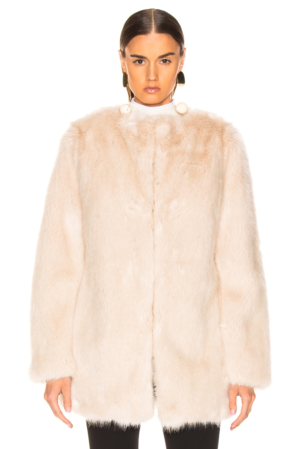 Image 2 of Helmut Lang Faux Fur Coat in Oatmeal