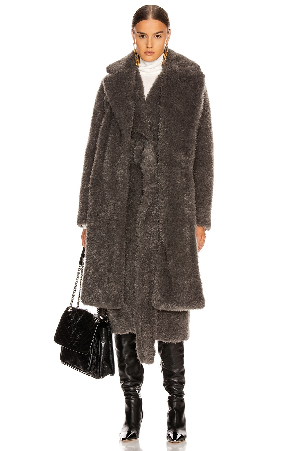 Image 1 of Helmut Lang Shaggy Faux Fur Belted Coat in Charcoal Melange